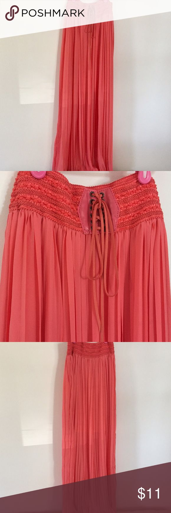 Coral Maxi Skirt, high waisted Never worn, in perfect condition! Coral pleated maxi skirt. Offers are welcome! Bundle for more savings :). Skirts Maxi