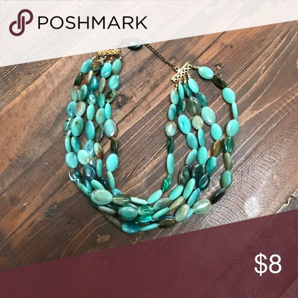 Cool teal necklace Multiple beads teal necklace Jewelry Necklaces