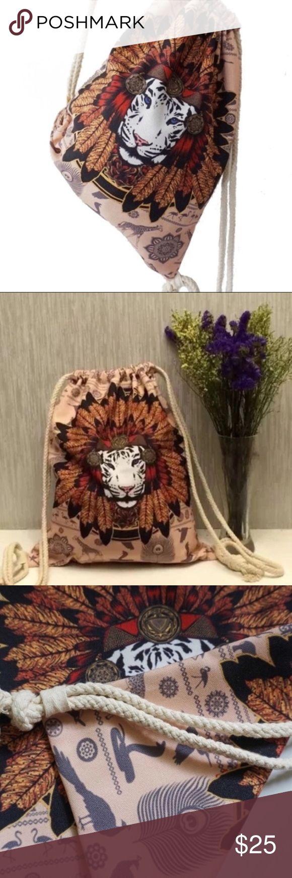 BOHO LION CAT ANIMAL LOVER TRIBAL DRAWSTRING BAG 🦁BOHO LION CAT ANIMAL FEATHE…
