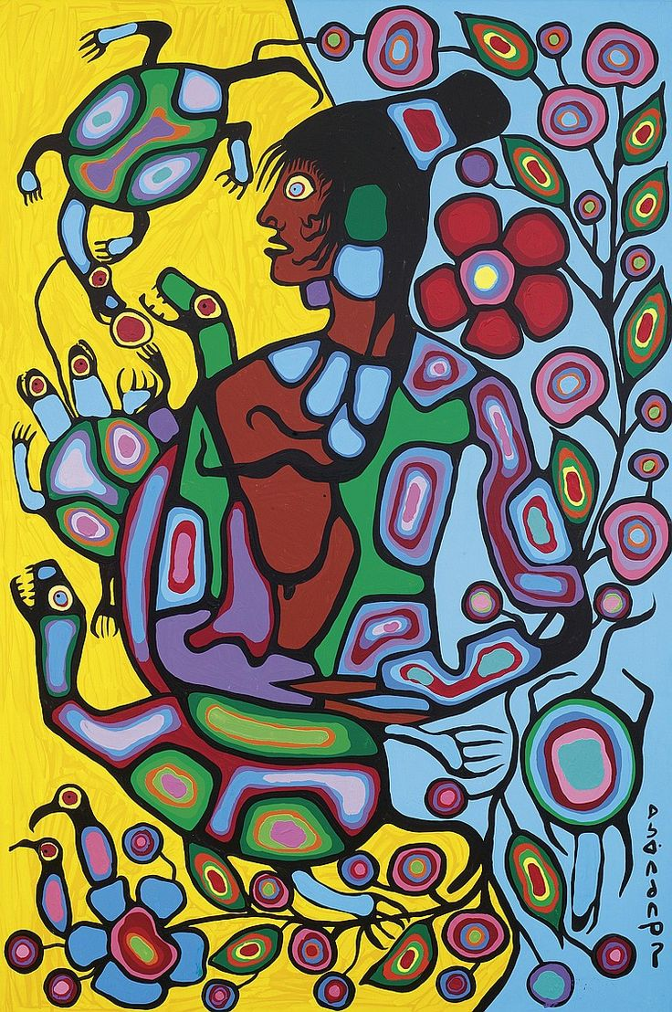 """Norval Morrisseau (March 14, 1932 - December 4, 2007), also known as Copper Thunderbird, was an Aboriginal Canadian artist. Known as the """"Picasso of the North"""".  His style is characterized by thick black outlines and bright colors."""