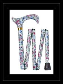 The Ladies Mini Red Floral Folding Walking Cane
