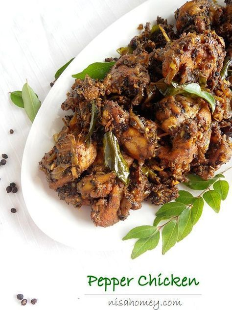 """Pepper chicken aka kurumulaku chicken is an easy and quick Kerala style chicken dry roast. Nadan pepper chicken is the perfect side dish with rice. This dry pepper roast chicken is a bit spicy; reduce a little to suit your taste. I like to use bone-in-chicken rather than boneless to make """"nadan"""" dishes."""
