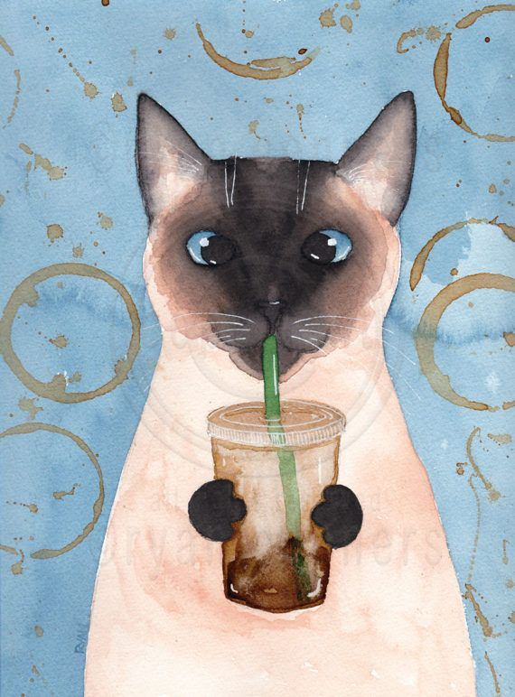 """Siamese Cat with Iced Coffee Original Cat Folk by KilkennyCatArt. Siamese Latte Kitty"""" An original watercolor painting. Also painted with coffee! Part of my Cats and Coffee series! Painted on Stratmore 400 series, cold pressed watercolor paper. Acid free, heavy weight. Size 9"""" x 12"""" - sprayed with a matte varnish."""