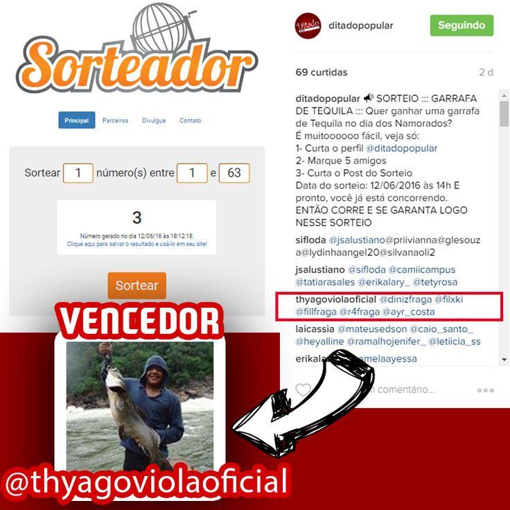 VENCEDOR DO SORTEIO ::: GARRAFA DE TEQUILA ::: INSTAGRAM  Vencedor: @thyagoviolaoficial  Link perfil: https://www.instagram.com/thyagoviolaoficial/  Venha hoje no DItado Popular no Dia dos Solteiros e garanta a sua Garrafa de Tequila.
