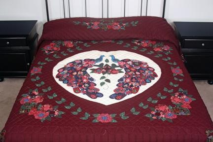 Peacock Burgundy Green And Blue Amish Quilt For Sale