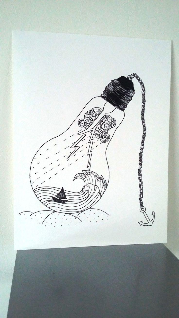 """Affiche Illustration Noir et blanc ampoule """"Jours de tonnerre """" : Dessins par stefe-reve-en-feutrine"""