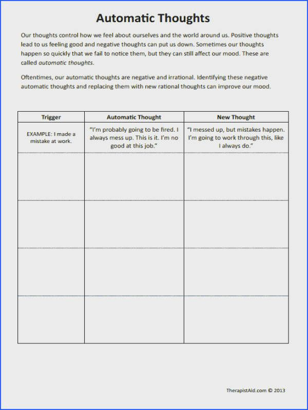 Cbt Worksheets Automatic Thoughts Preview Good For Negative Self