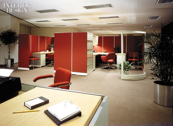 By the 1978 debut of Otto Zapf's steel-framed system, the transition to fabric-wrapped panels was virtually complete - and client qualms had subsided.  via Interior Design
