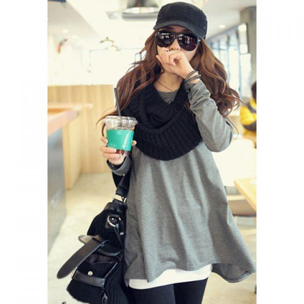 Korean Cotton Tops Batwing Irregular T-shirt Women Clothes, GRAY, ONE SIZE in Tees & T-Shirts | DressLily.com