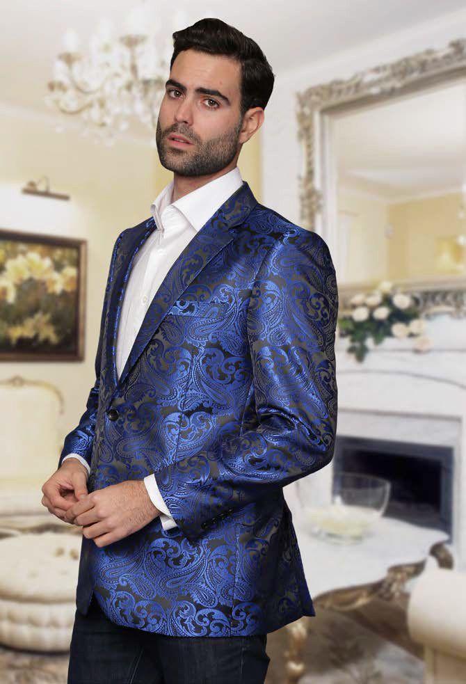 BRAND NEW MANZINI MENS ROYAL BROCADE SPORT COAT TUXEDO JACKET LARGE 42R  MODERN | Sport jacket men, Sports blazer, Blue blazer men