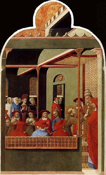 1181/82-1226.Life of Francis of Assisi. Sassetta.Pope Innocent III Accords Recognition to the Franciscan Order. 1437-44. Private collection.