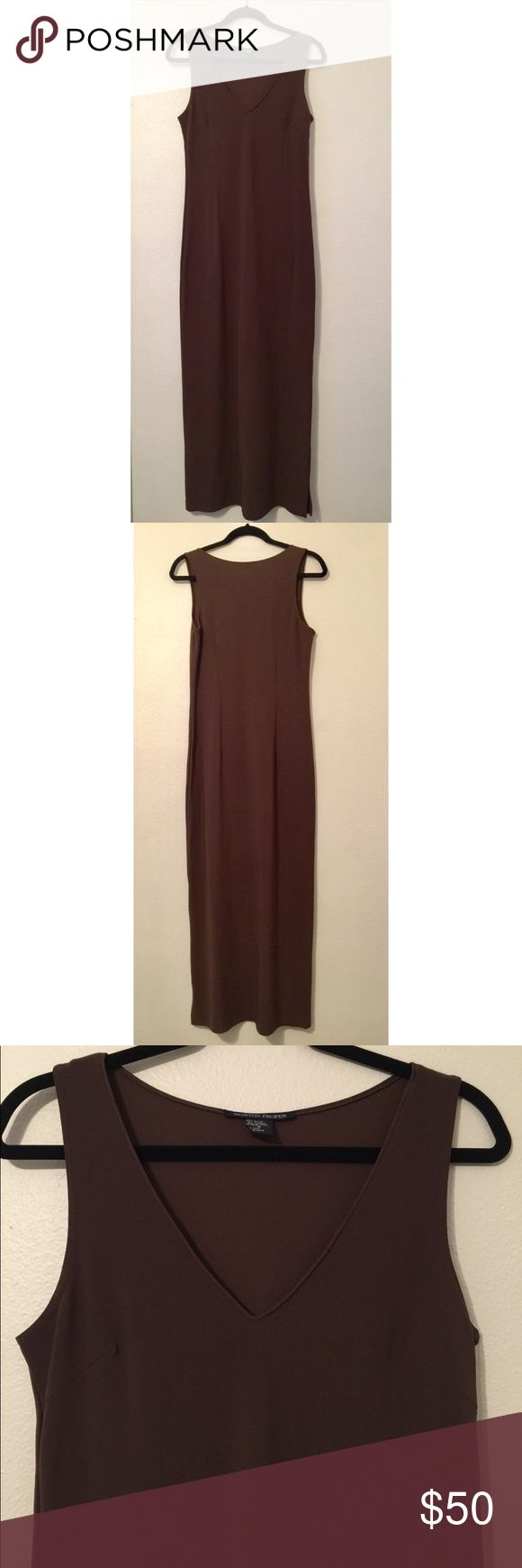 """BOSTON PROPER size small dark brown maxi dress Absolutely beautiful!! Dark brown BOSTON PROPER size small maxi dress with side slit. No flaws, excellent condition!   45.5"""" v-neck point down to bottom hem 55"""" top of shoulder to bottom hem 45.25"""" side seam 10.5"""" v neck depth 52.5"""" back length 18"""" slit (left side) Boston Proper Dresses Maxi"""