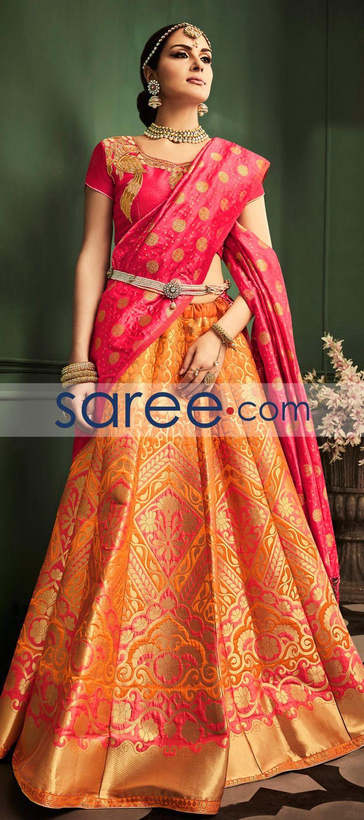 ORANGE BANARASI SILK LEHENGA CHOLI WITH WEAVING #LehengaCholi #BanarasiLehenga #IndianOutifit #IndianLehenga #WeddingLehengaCholi #ReceptionLehengaCholi