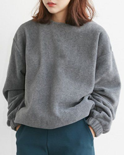 Preppy Round Collar Long Sleeve Solid Color Women's Fleece ...
