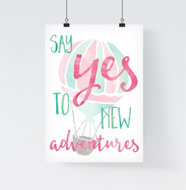 "Affiche aventure ""Say yes to new adventures"" est une création orginale de paperblooming sur DaWanda.com"