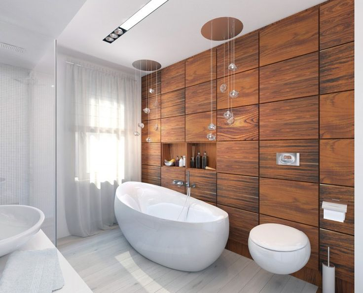 20 bathrooms with wood wall designs