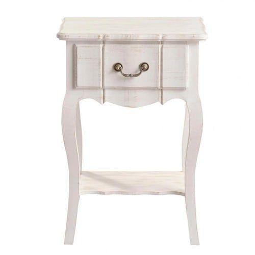 Table de chevet avec tiroir en bois de paulownia blanche L