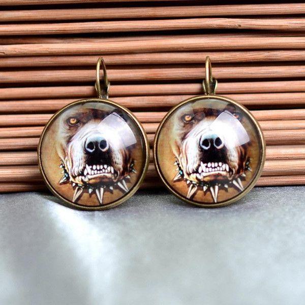 Glas Ohrringe lieben baum,Hund old gold 25 von Schmuck auf DaWanda.com