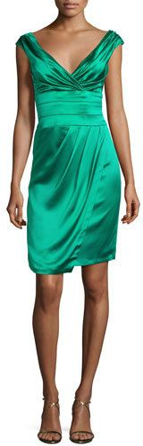 Kay Unger New York Ruched Satin Cocktail Dress, Jade