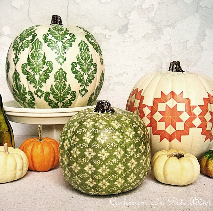 gourd love...: Ideas, Craft, Fall Decor, Fall Projects, Country Living, Holidays, Decoupage Pumpkins, Halloween