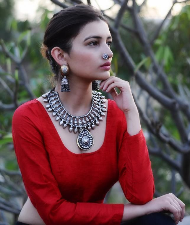 Buy Carve your Style! by Shree Jewellers Tribal Silver-Etched Necklaces, Nose Pins & Clip-Ons Online at Jaypore.com