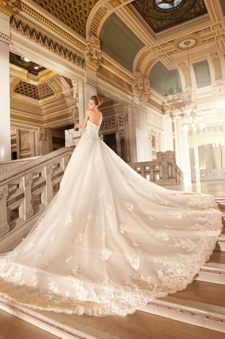64 best demetrios 2015 images on pinterest short wedding for Wedding dresses with royal length train