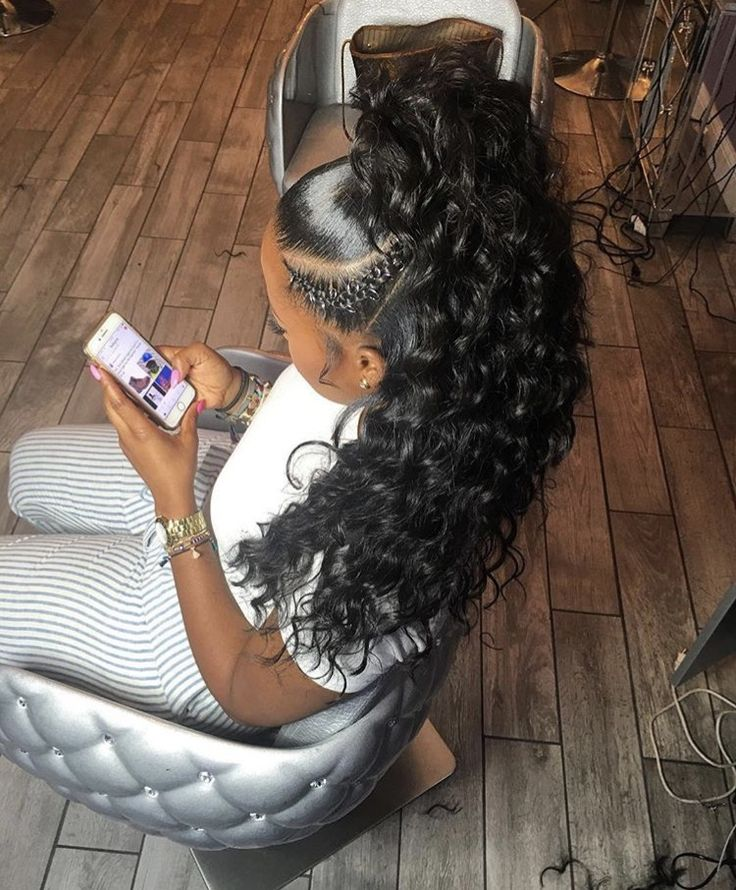 Curly Half Up Half Down Sew In