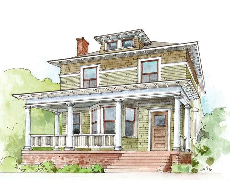 Suburban Houses / 1917-1942. American Foursquare. Early versions carried a distinct Craftsman style, while later versions took on a more classic feel with rounded traditional columns and Palladian windows and turned wood railings.