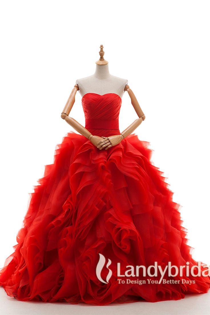 カラードレス プリンセス ハートネック 赤 コートトレーン モード感のスカート お色直し B14TB0016-red ¥46,900