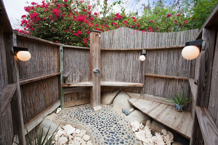 34 best bamboo outdoor showers images on pinterest for Outdoor shower tower