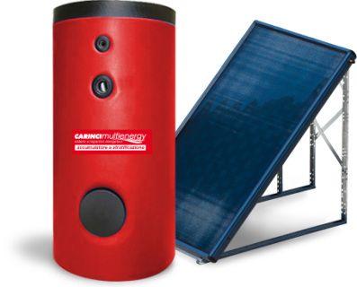 Kit Solare con accumulatore per la gestione totale del circuito dell'acqua sanitaria con un solo serpentino. Utenza per 6 persone.  SCHEDA TECNICA