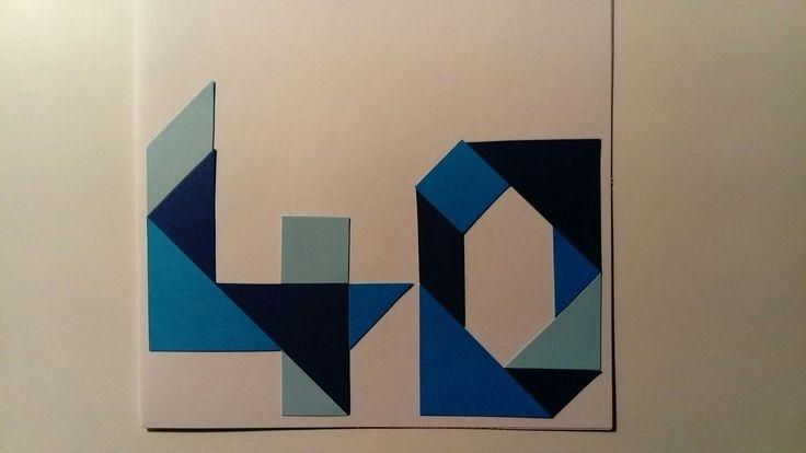 Verjaardagskaart met tangram: 40 jaar