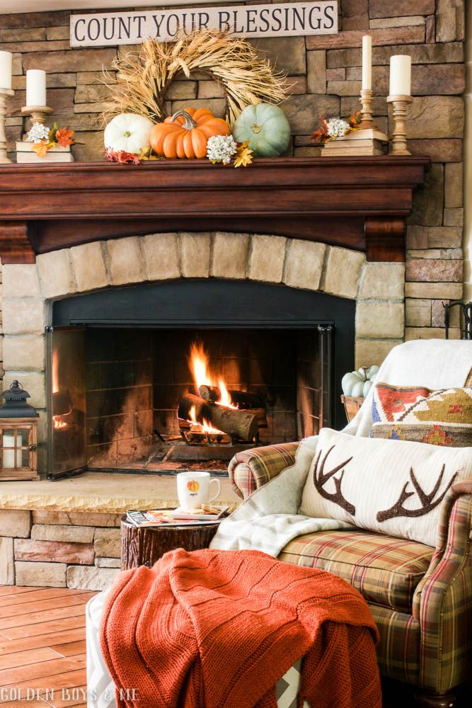 Fall fireplace mantel idea - www.goldenboysandme.com                                                                                                                                                                                 More
