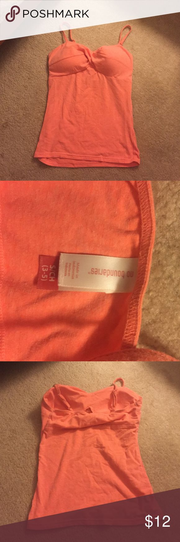 Padded orange cami Worn once or twice, perfect condition No Boundaries Tops Camisoles