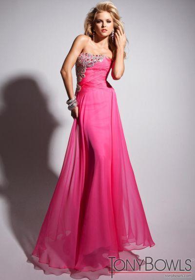 Tony Bowls Pink Le Gala Chiffon Formal Dress