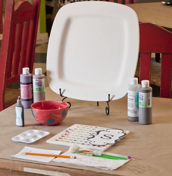 Host a paint your own pottery party for much cheaper than going to a studio. Perfect for gifts or a girls night!!