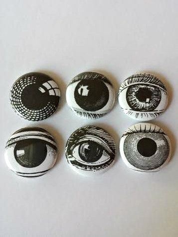 All the better to see with!  Set of six 1 Eye pins buttons badges.  NEW by PinYourHeartOut, $7.00