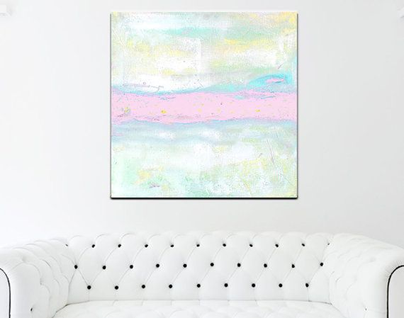 Pink Abstract Painting Print Large Canvas Wall Art Pastel