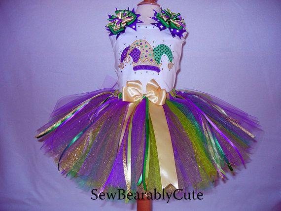 Mardi Gras Jester Hat TuTu Outfit by SewBearablyCute on Etsy, $50.00
