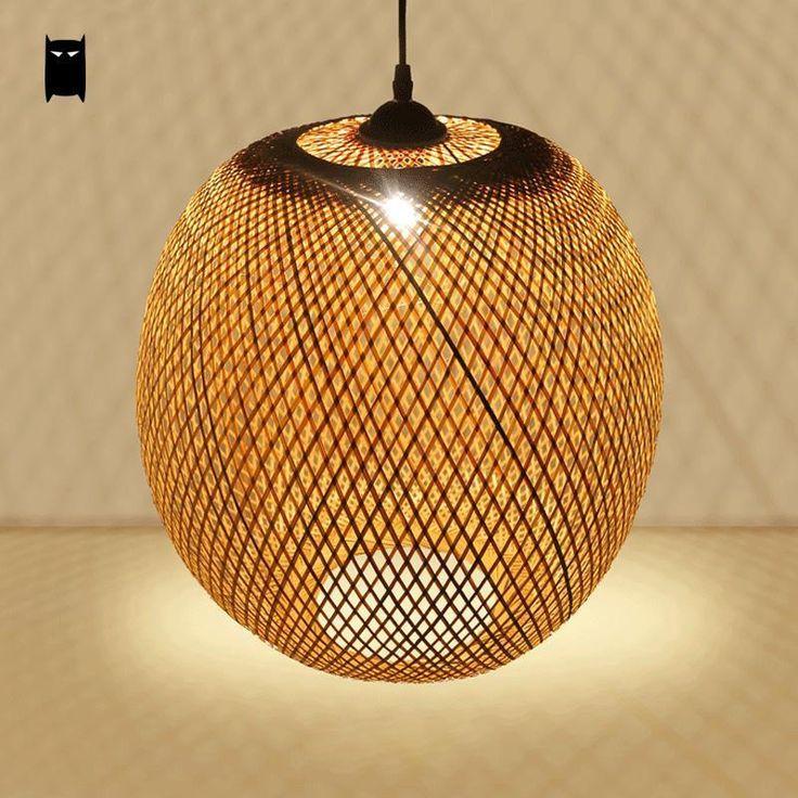 Bamboo Wicker Rattan Round Lantern Pendant Light Fixture Asian Lamp Dining Room #Soleilchat #Asian