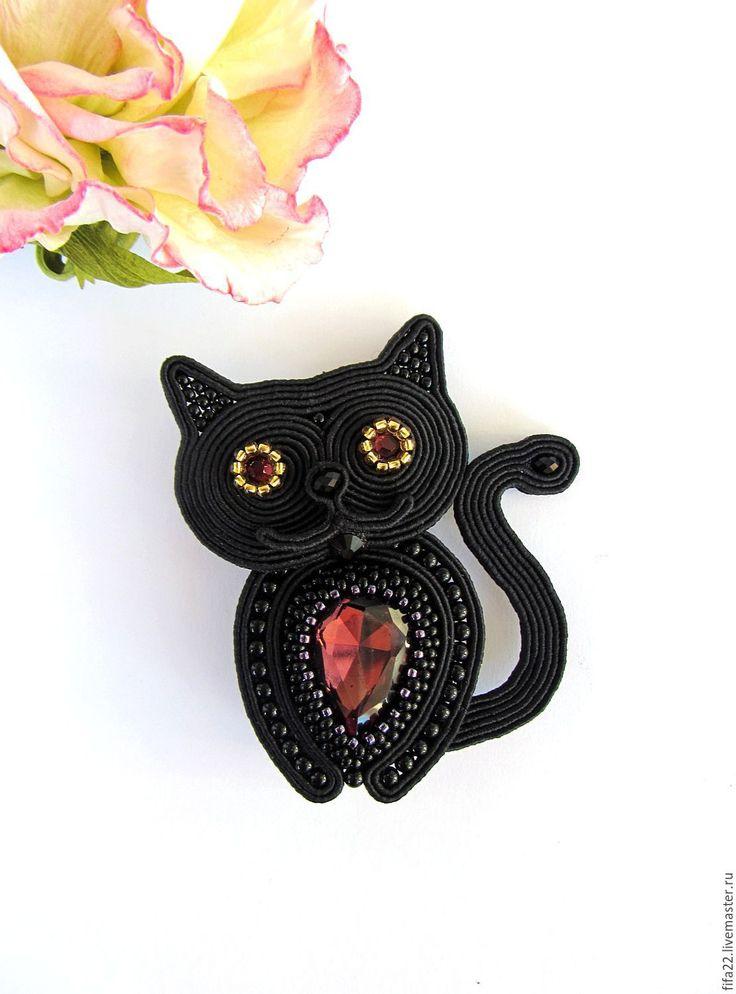 Купить сутажная брошь Котик - черный, брошь, кот, кот в подарок, брошь ручной работы