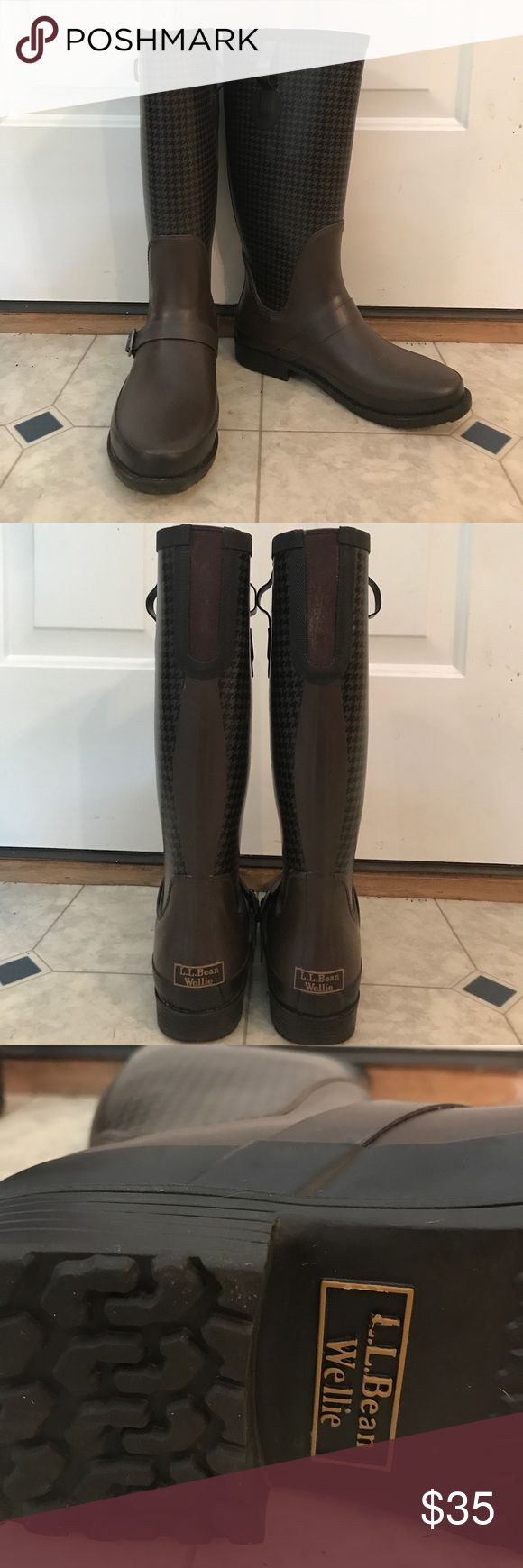 L.L. Bean Wellie Women's Medium/Size 11 Rain-boots L.L. Bean Women's all rubber Rain boots. Size 11. Medium. Brown with buckle on front. Only worn once. Very sturdy, and will last a very long time. L.L. Bean Shoes Winter & Rain Boots