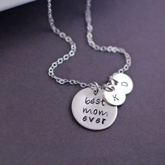 Mother's Day Gift - Personalized Best Mom Ever Necklace in Sterling Silver by georgiedesigns on Etsy