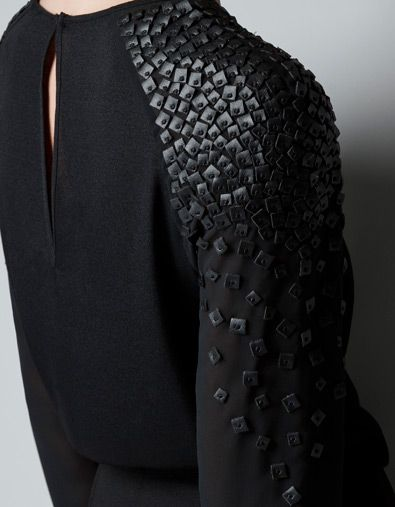 Black blouse with leather sequin applique - sewing ideas; textured embellishment; fashion design detail // Zara