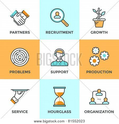 Cooperation And Organization Line Icons Set