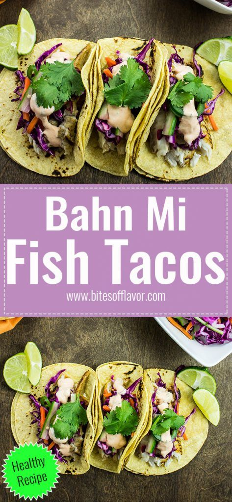 Banh Mi Fish Tacos are a delicious twist on the classic Vietnamese sandwich. Pan grilled tilapia topped with homemade Asian slaw and spicy aioli wrapped in a corn tortilla. Weight Watchers friendly recipe. www.bitesofflavor.com