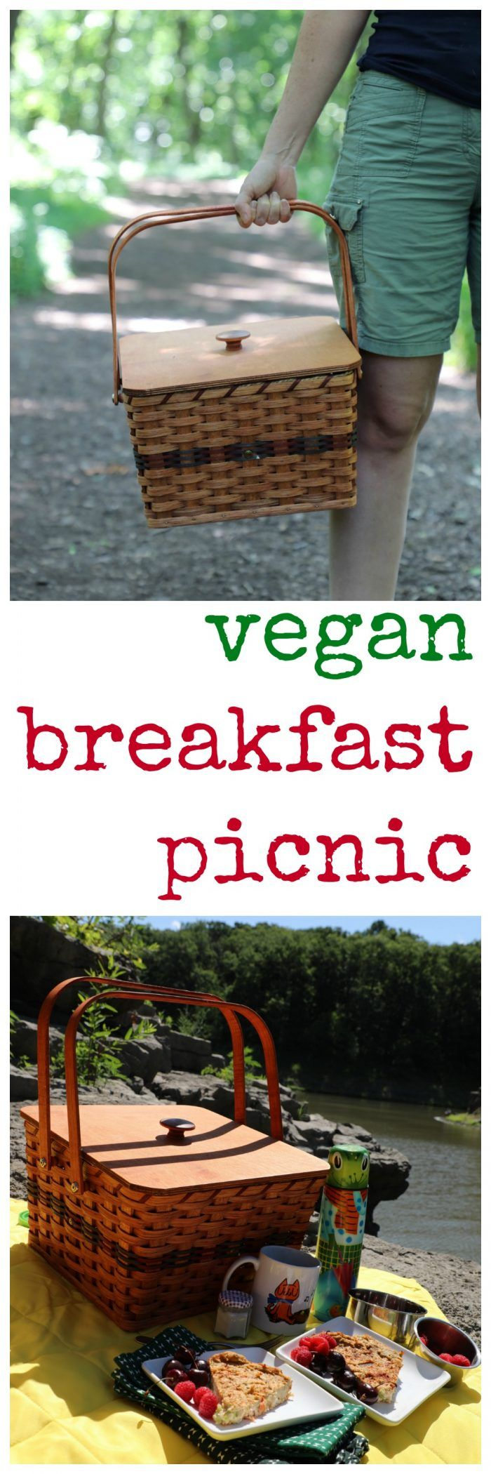 Vegan breakfast picnic: Eggless quiche, berries, cashew milk & coffee.
