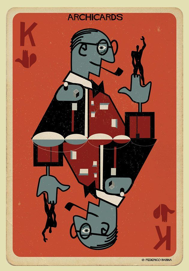 Le Corbusier portrayed in one of Federico Babina's Archicards, a set of playing cards featuring different iconic architects on each card.