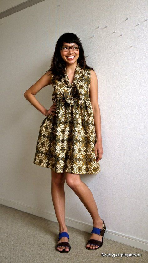 Batik tie-front dress