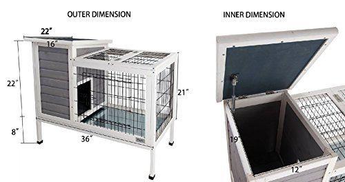 Petsfit Lapin intérieur Hutch, Bois Cage Lapin, lapin Hutch, couleur gris, 91cm x 55cm x 75cm